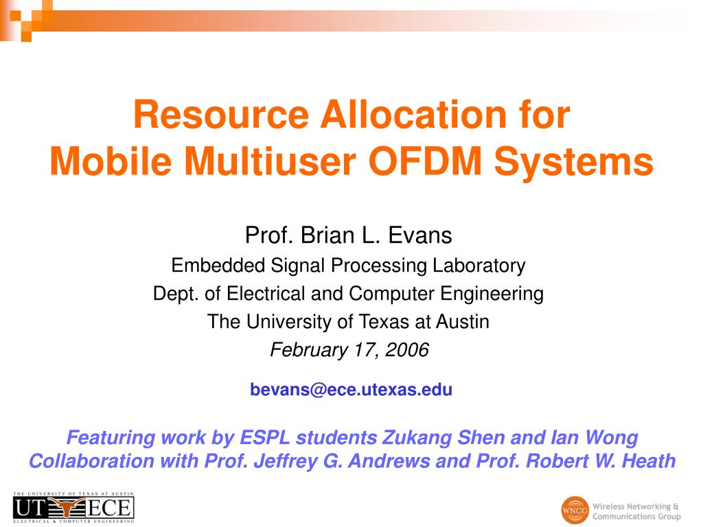 resource allocation for mobile multiuser ofdm systems l.