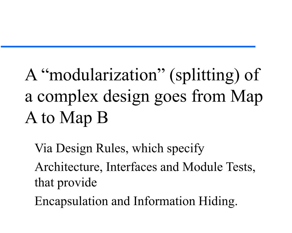 """A """"modularization"""" (splitting) of a complex design goes from Map A to Map B"""