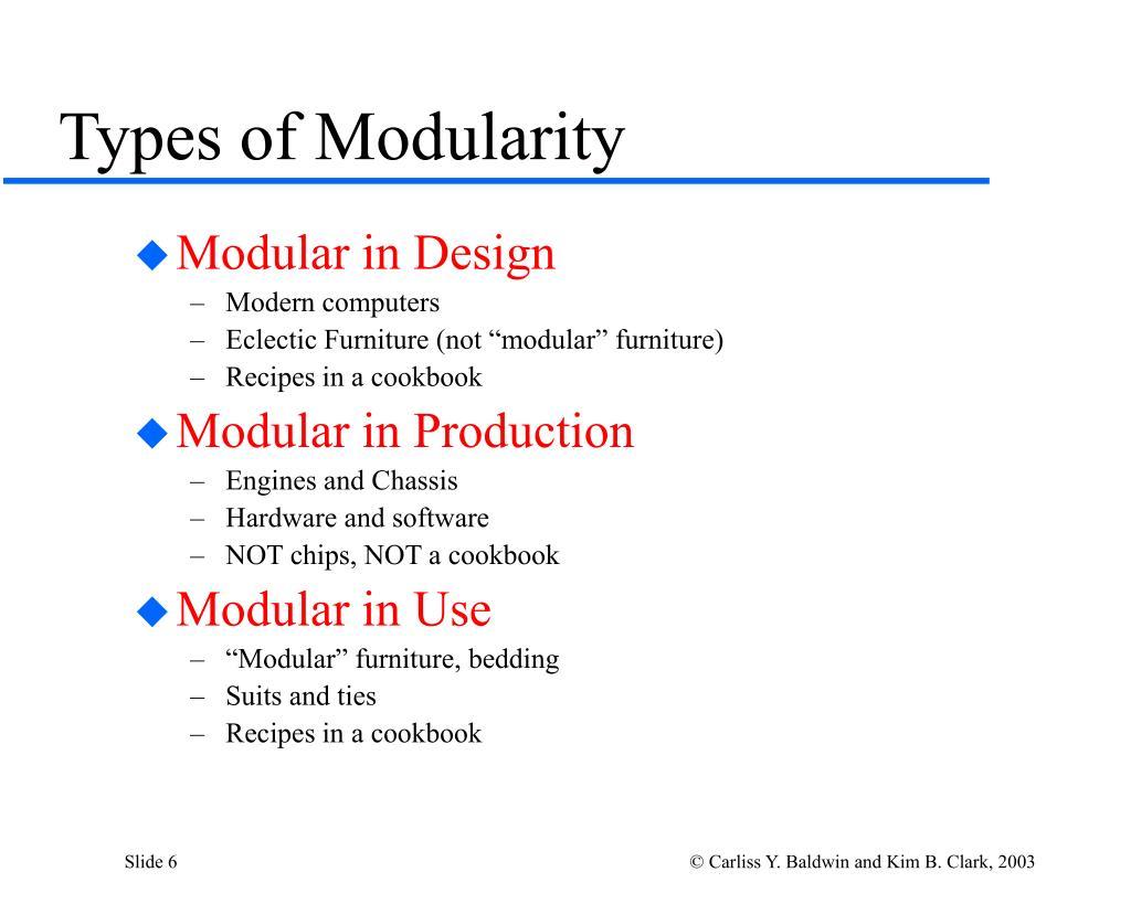 Types of Modularity