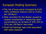 european pooling summary