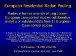 european residential radon pooling