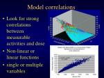 model correlations