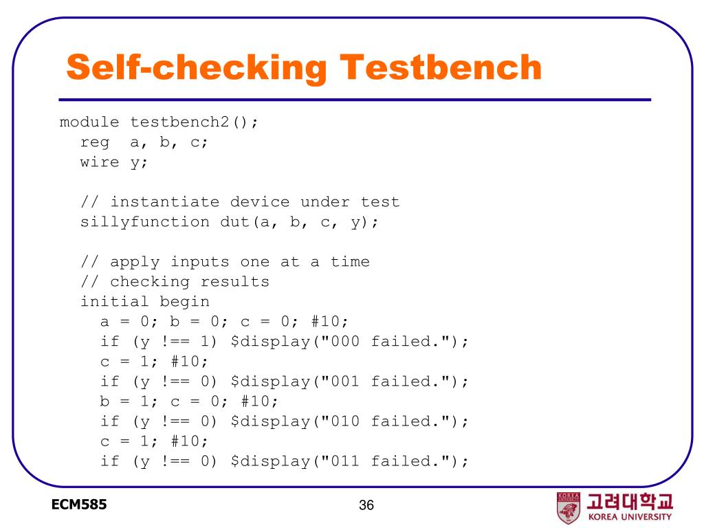 Self-checking Testbench
