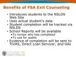 benefits of fsa exit counseling
