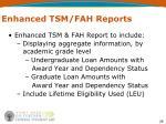enhanced tsm fah reports