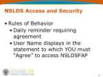 nslds access and security