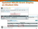 updated nslds grant display on student site