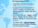the beginning of wwi