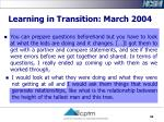 learning in transition march 2004