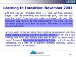 learning in transition november 2003