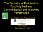 the centrality of feedback in teaching business communication and improving performance