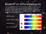 redshift of different objects