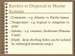 barriers to dispersal in marine systems