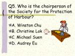 q5 who is the chairperson of the society for the protection of harbour