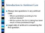introduction to antitrust law