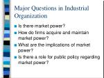 major questions in industrial organization