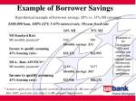 example of borrower savings