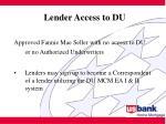 lender access to du23