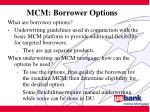 mcm borrower options