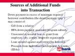 sources of additional funds into transaction