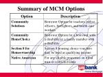 summary of mcm options