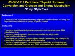 05 dk 0119 peripheral thyroid hormone conversion and glucose and energy metabolism study objectives