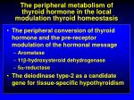 the peripheral metabolism of thyroid hormone in the local modulation thyroid homeostasis