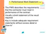 1 performance work statement pws