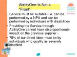abilityone is not a front