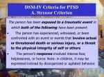 dsm iv criteria for ptsd a stressor criterion