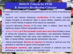 dsm iv criteria for ptsd b intrusive recollection criterion