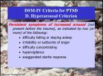 dsm iv criteria for ptsd d hyperarousal criterion