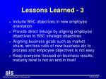 lessons learned 3
