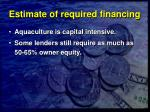 estimate of required financing