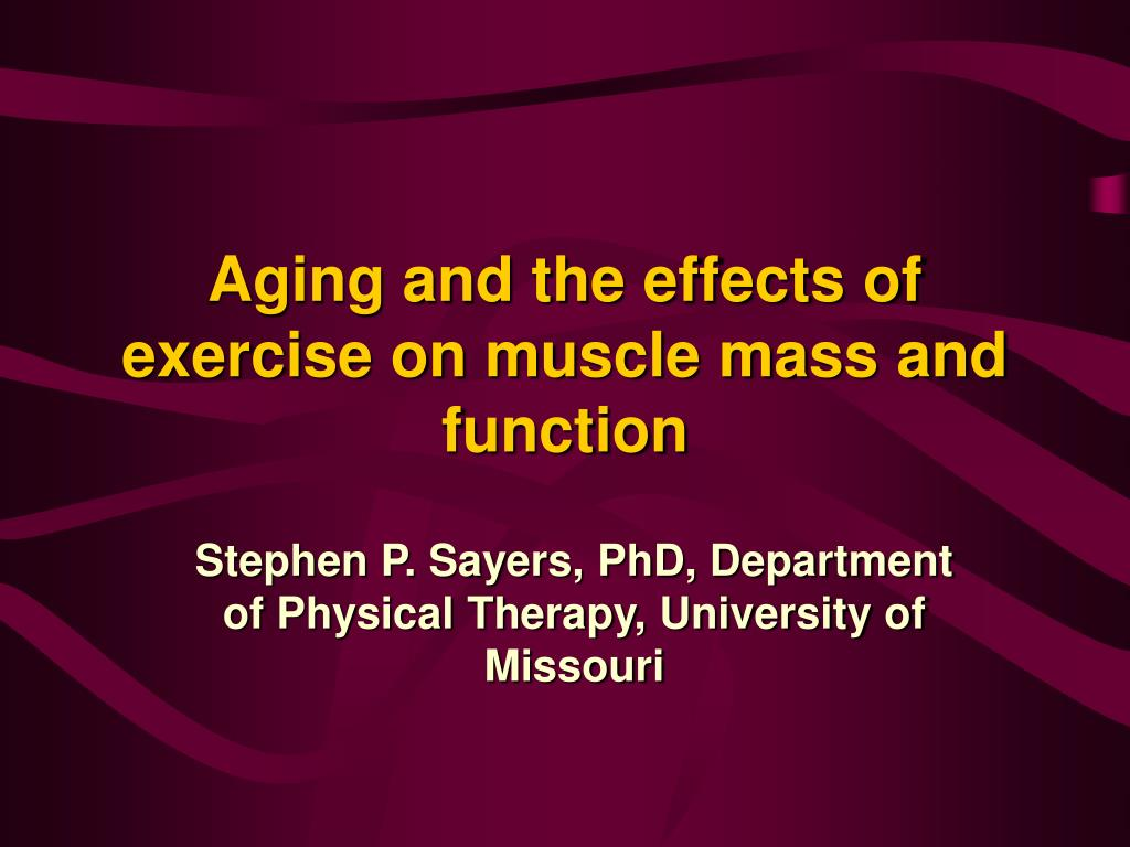 aging and the effects of exercise on muscle mass and function l.
