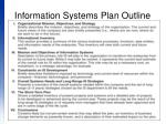 information systems plan outline