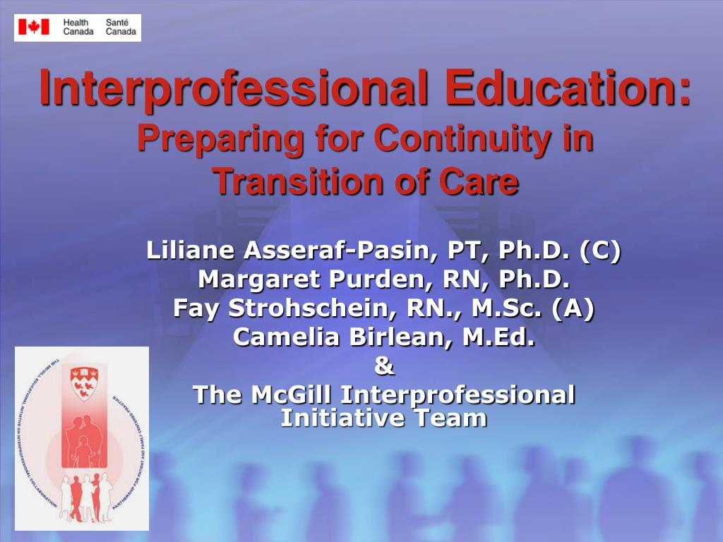 interprofessional education preparing for continuity in transition of care l.