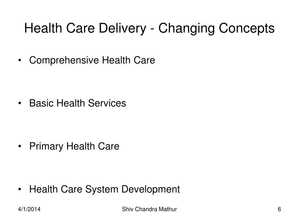 Health Care Delivery - Changing Concepts