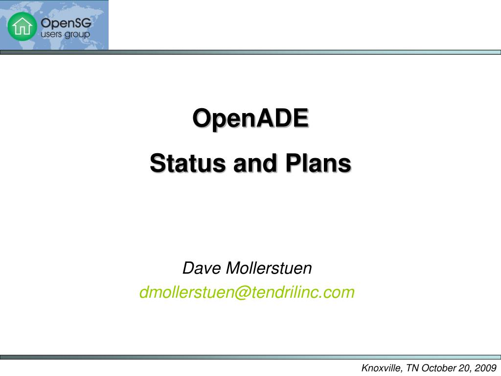 openade status and plans l.