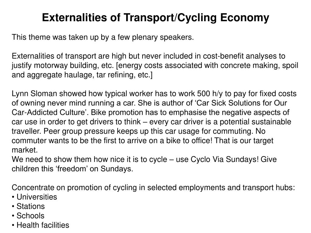 Externalities of Transport/Cycling Economy