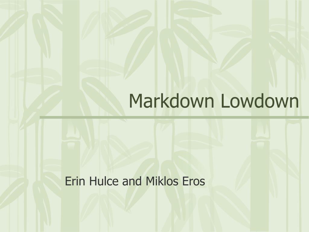 markdown lowdown l.