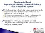 fundamental tenet improving our quality safety efficiency it is all about the system