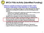 bpch fy06 activity identified funding