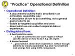 practice operational definition