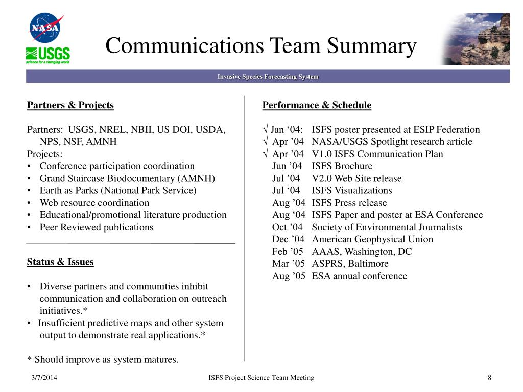 Communications Team Summary