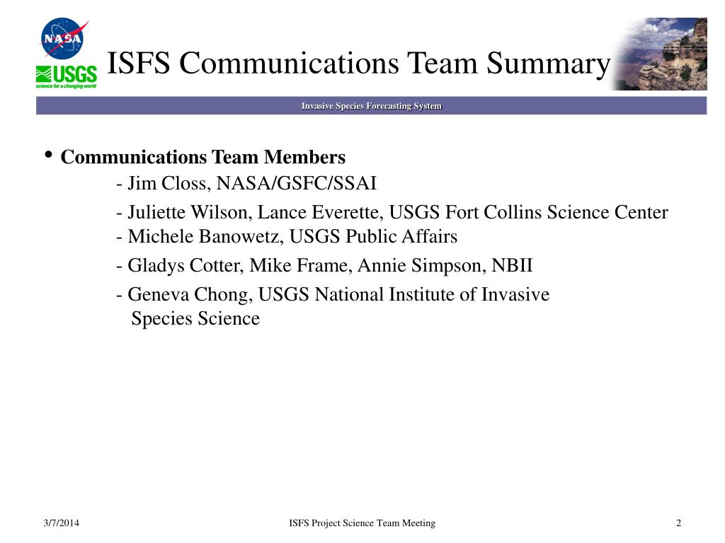 ISFS Communications Team Summary