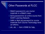 other passwords at flcc