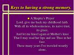 keys to having a strong memory113