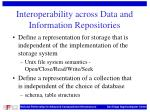 interoperability across data and information repositories
