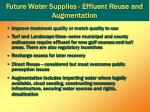 future water supplies effluent reuse and augmentation